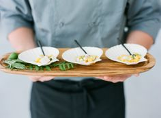 Beautiful appetizers served in shells. Cuisine by Sun in my Belly, image by Buffy Dekmar. #wedding