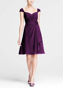 Airy and sweet, your bridesmaids will look picture perfect in this lovely dress!  Ruched bodicewith sweetheart neckline features ultra-feminine cap sleeves.  3D flower detailat waist is eye catching and chic.  Soft chiffon cascading ruffles move vivaciously.  Fully lined. Back zip. Imported. Dry clean only.