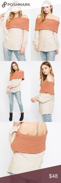 Off Shoulder Button Up Top Off shoulder button up top. This is true to size and model is wearing the small. Brand new. NO TRADES DO NOT ASK. Bare Anthology Tops Blouses