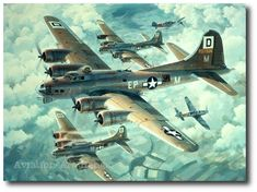 Two German Messerschmitt 109Gs attack head-on through a formation of B-17s from the 100th Bomb Group over Germany. Fortresses Engaged by Keith Ferris