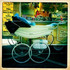 Vintage pram by Lizzie Coombes. My Mum used to push me around in one of these. Vintage Stroller, Vintage Pram, Vintage Theme, Vintage Soul, Silver Cross Prams, Prams And Pushchairs, Baby Equipment, Baby Buggy, Dolls Prams