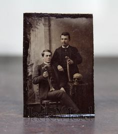 Original Antique 1880s Tintype Photo Men w SKULL & BONES ps. Yale Secret Society