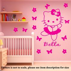 Hello Kitty Personalized Name Wall stickers Vinyl decal With 14 flowers Disney Mural Kids Room Decor Wall Art. You will Receive: Hello Kitty Personalized Name Removable Vinyl Wall Sticker with your chosen name and color. Size Details---->Small : 30cm(H) x 22cm (W) + 7 Butterflies + 7 flowers + name 30cm in length---->Medium : 40cm(H) x 30cm (W) + 7 Butterflies + 7 flowers + name 45cm in length----->Large : 50cm(H) x 37cm (W) +7 Butterflies + 7 flowers+ name 56cm in length----->X-Large :... Name Wall Stickers, Kids Wall Decals, Vinyl Decals, Disney Mural, Wall Art Decor, Room Decor, Kids Room Murals, Vectors, Butterflies