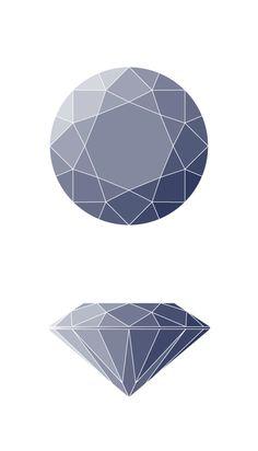 Round Diamond Shape Diagram Silver Jewelry Box, Mens Silver Necklace, Mens Silver Rings, Jewellery Sketches, Jewelry Drawing, Gouache, Diamond Illustration, Jewel Tattoo, Diamond Drawing