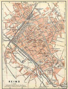 REIMS Rheims Old antique detailed city map plan. France City, Map Globe, See Images, City Maps, Antique Maps, Old Antiques, Cartography, Vintage World Maps, How To Plan