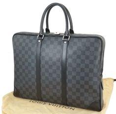 Auth LOUIS VUITTON Porte-Documents Voyage Damier Graphite Briefcase Bag #21503