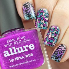 Nail Stamping Decals and Stamped Gradient
