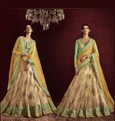 Yellow & Beige Netted Nakkashi Bridal Lehengacholi ,Indian Dresses - 2