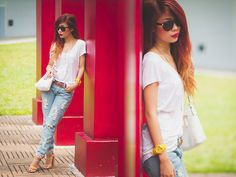 Get this look: http://lb.nu/look/5269048  More looks by Rhea Bue: http://lb.nu/iamthedoll  Items in this look:  Romwe Basic White Tee, Romwe Boyfriend Jeans, Ice Watch Philippines Yellow Watch
