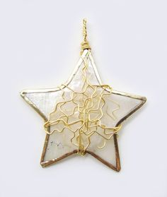 ornament wire wrapped upcycled golden star or statement pendant ready to ship