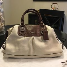 Coach Purse All leather coach purse. Light turquoise interior. In great condition, original duster bag included. Coach Bags Satchels