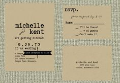 Vintage Typeset Kraft Wedding Invitation Set - Michelle and Kent. $2.35, via Etsy.