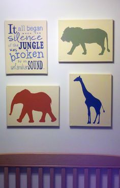 Jungle Book Nursery - paint on pieces of wood and hang?