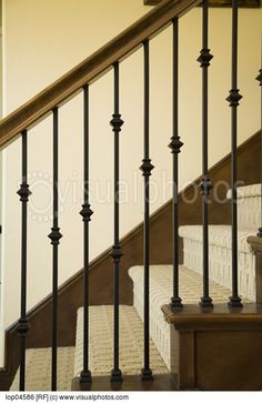 Detail of Wraight Iron and Wood Railing > Stock Photos . Iron Staircase Railing, Wood Railing, Railing Design, Staircase Design, Bannister, Banister Remodel, Stairways, Iron Spindles, Stair Spindles