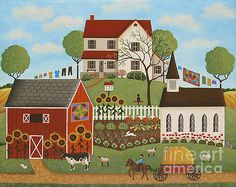 """Life in the Country"" Folk Art Painting by Mary Charles"