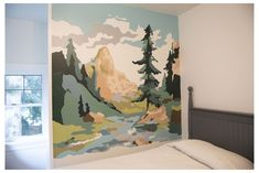 Paint by Numbers Fun! #paint #by #number #wall #mural Wall mural based on a vintage paint by numbers. Mural Painting, Mural Art, Wall Murals, Boys Bedroom Paint, Bedroom Murals, Paint By Number Vintage, Apartment Painting, Mountain Mural, Forest Mural