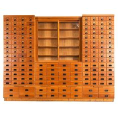 c.1950 Extreme large apothecary chest which counts a total of 156 drawers! This beautiful piece is made from redwood and is build up in eleven elements each divided with drawers in different sizes.