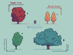 Trees : PixelArt Image Pixel Art, Arte 8 Bits, Pixel Art Background, Pixel Characters, 8bit Art, Pixel Art Games, Retro Poster, Environmental Art, Art Studies