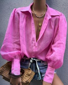 Women Blouse Fashion Lantern Sleeve Loose Blouse V Neck Casual Office Lady Shirts Tops Autumn Womens Clothing Top Femme, Pink / S Trend Fashion, Fashion Mode, Look Fashion, Womens Fashion, Ladies Fashion, Fashion Ideas, Lolita Fashion, Curvy Fashion, Modest Fashion