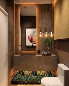 Luxurious lavabo with a beautiful composition! New Interior Design, Interior Decorating Styles, Home Decor Trends, Bathroom Design Luxury, Modern Bathroom, Brown Bathroom, Ideas Baños, Decor Ideas, Ideas Party