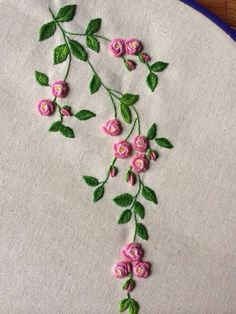 Resultado de imagem para bullion stitch embroidery from roses to wildflowerspink and green embroidered flowers -- Gallery.This Pin was discovered by Нат Hand Embroidery Flowers, Embroidery Works, Flower Embroidery Designs, Simple Embroidery, Hand Embroidery Stitches, Silk Ribbon Embroidery, Crewel Embroidery, Embroidery Techniques, Embroidered Flowers