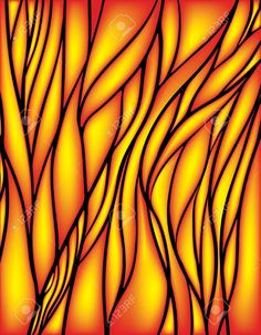 stained glass window: Stained glass window with red and yellow color, vector abstract mesh
