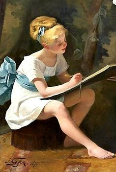 La leçon de dessin ~ Girl with Blue Sash by Henri Jules Jean Geoffroy dit Geo (1853-1924)