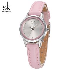 nice SK Fashion Casual Women's Bracelet Watches Pink Leather Watchband Strap Quartz Wristwatches for Female Ladies Gifts