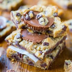 Two-Ingredient Peanut Butter Cup Chocolate Chip Cookie Dough Bars (GF) - The fastest  best tasting 2-ingredient bars you'll ever make!