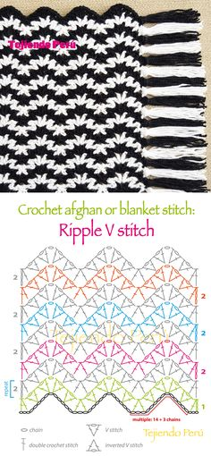 #Crochet: afghan or blanket stitch! Ripple V stitch pattern or chart :)