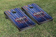 DePaul Blue Demons Weathered Wood w/ Logo Cornhole Board & Bag Set