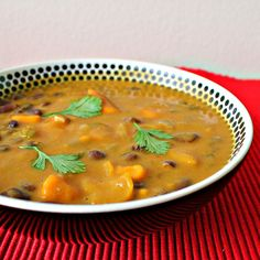 African Sweet Potato Soup with Peanut Butter and Black Beans