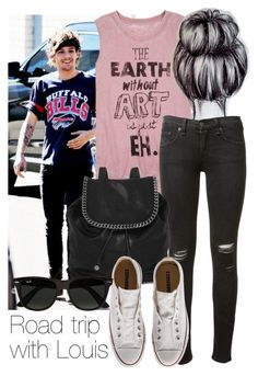 """""""REQUESTED: Road trip with Louis"""" by style-with-one-direction ❤ liked on Polyvore featuring dELiA*s, rag & bone, STELLA McCARTNEY, Converse, Ray-Ban, OneDirection, 1d, louistomlinson and louis tomlinson one direction 1d"""