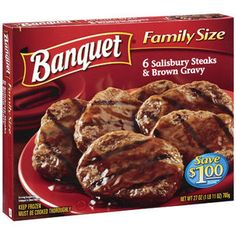 Get calories and nutrition facts on Banquet Family Size Salisbury Steaks & Brown Gravy - 6 ea including the amount of fat, cholesterol and protein per serving, or find healthy food alternatives. Salisbury Steak Recipes, Frozen Steak, Cooking Recipes For Dinner, Frozen Meals, Almond Cakes, Quick Easy Meals, Beef Recipes, Diabetic Recipes, Food Cakes