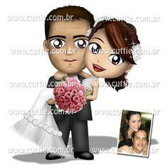 Caricatura para casamento - Noivos Gláucia e Rodrigo - noivinhos cuttie