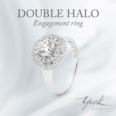Double halo round brilliant cut diamond engagement ring, available at York Jewellers.