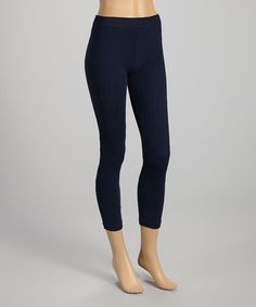 Take a look at this Navy Cable-Stitch Leggings - Women by SR Fashions on #zulily today!