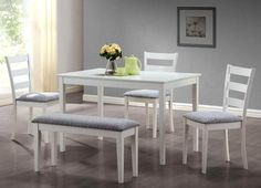 White Dining Set w/ A Bench And 3 Side Chairs - Monarch Specialties casual dining set is the perfect solution for small kitchens or dining spaces. The sleek rectangular dining table features tapered square legs that adds a modern appeal White Dining Set, Dining Set With Bench, Dinning Set, Kitchen Dining Sets, 5 Piece Dining Set, Table And Chair Sets, Dining Room Sets, Dining Room Furniture, Dining Chairs