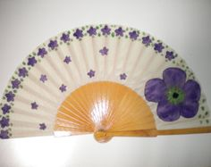 Tiny Scattered Purple Flowers and Large Flower Natural Wood Fan Hand Fan