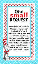 Dr Seuss Bring a Book Card Baby Shower Birthday 3x5 One Small Request