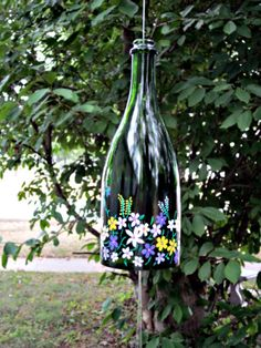 Wine Bottle Recycled Wind Chime, try using stickers to decorate bottle