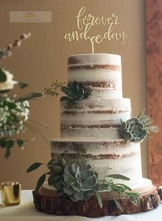 Wedding Cakes Semi-Naked Cake with Succulents