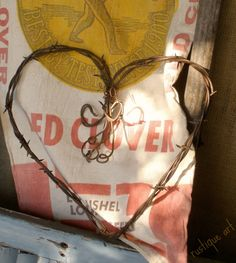 Large Barbed Wire Heart