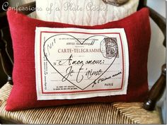 Heart Post Card French Graphic in Reverse Image .......... Pottery Barn Inspired French Valentine Pillow