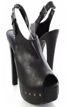 Look 2: Black Faux Leather Peep Toe Slingback Studded Platform Heels / AMI Clubwear $19.99