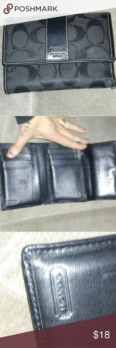 Black coach wallet Used some wear on the corner shown in photos Coach Bags Wallets