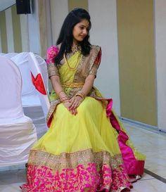 43 Ideas Hairstyles Formal Half Up Simple For 2019 Half Saree Lehenga, Saree Dress, Sari, Bridal Lehenga, Saree Wedding, Wedding Bride, Banarasi Lehenga, Kids Lehenga, Gown Wedding