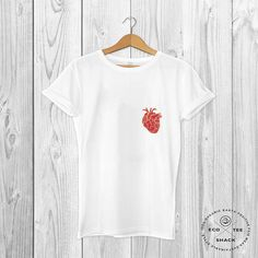 7ea12f98 Heart T-shirt, pocket tee, white graphic t-shirt, unisex t-shirt, vegan  clothing, fair trade clothing, organic top