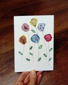 Pretty Watercolor Flowers # Watercolor # Flowers # Painting # Doodle # Watercolor H . Watercolor Birthday Cards, Watercolor Cards, Watercolor Flowers, Watercolor Postcard, Watercolor Tattoos, Watercolor Portraits, Art Carte, Flower Doodles, Doodle Flowers