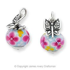 james avery charms  | Mariposa Finial with Pink Blossom Charm from James Avery